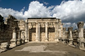 Ruins of the ancient great Jewish synagogue at Capernaum.