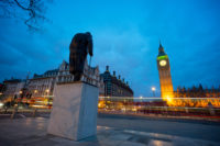 Big Ben and statue of Sir Winston Churchill, London, England